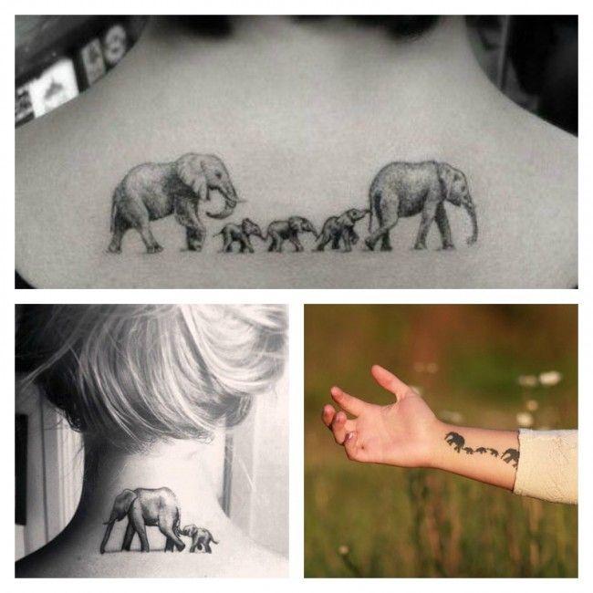 Elefanti simbolo da tatuare che rappresenta la Famiglia