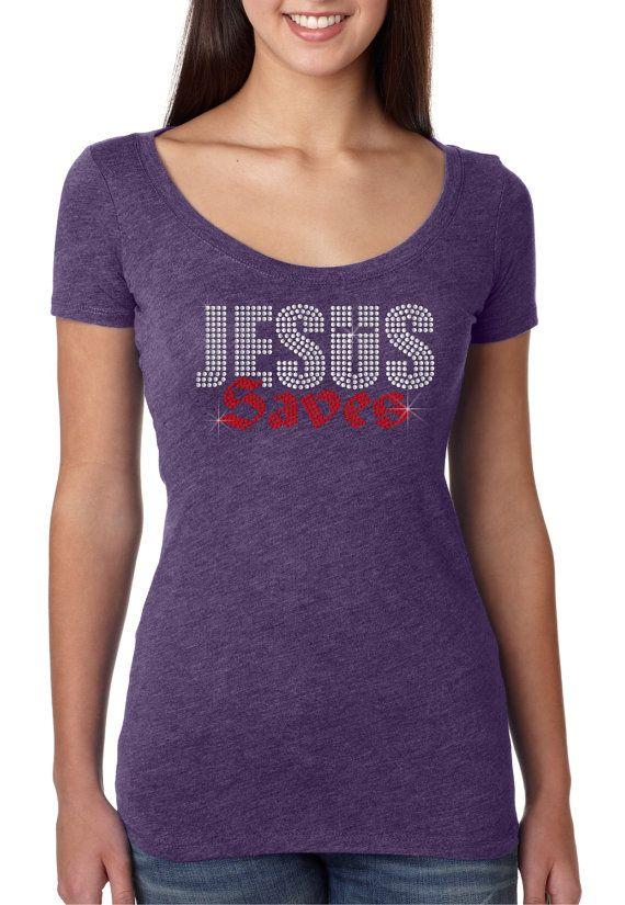 bling rhinestone ''Jesus Saves''  Next by CrystalTrendsDesigns