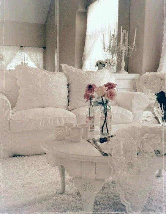 White Living Room Shabby Chic Living Room Pinterest Living Rooms Shabby And Room
