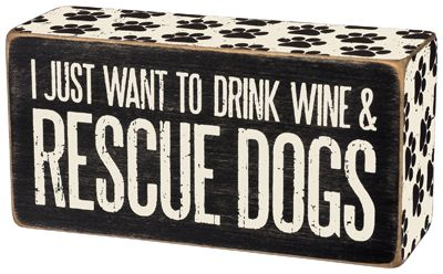 Item # 31150 | Box Sign - Rescue Dogs | Primitives by Kathy