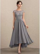 Bild von [€ 158.00] A-Linie U-Ausschnitt Asymmetrisch Chiffon Spitze Kleid