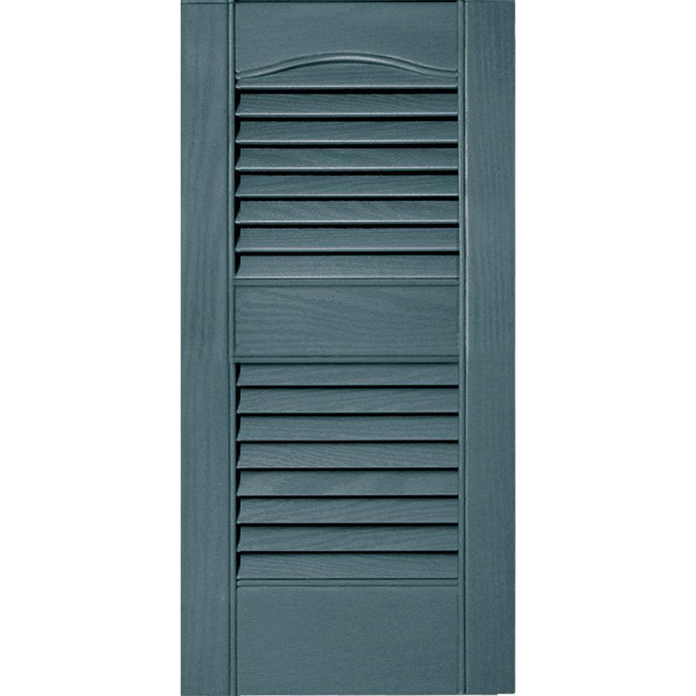 Builders Edge 12 In X 25 In Louvered Vinyl Exterior Shutters Pair 004 Wedgewood Blue 010120025004 The Home Depot Vinyl Exterior Shutters Exterior Exterior Vinyl Shutters
