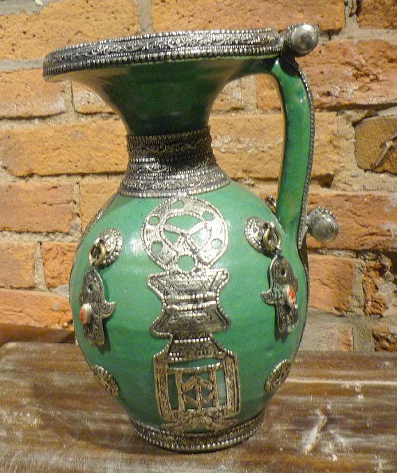 Vintage Moroccan green decorative vase with hamsa pendants