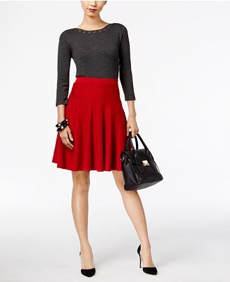 Cable & Gauge Grommet Sweater & Grace Elements A-Line Sweater Skirt - Wear to Work - Women - Macy's