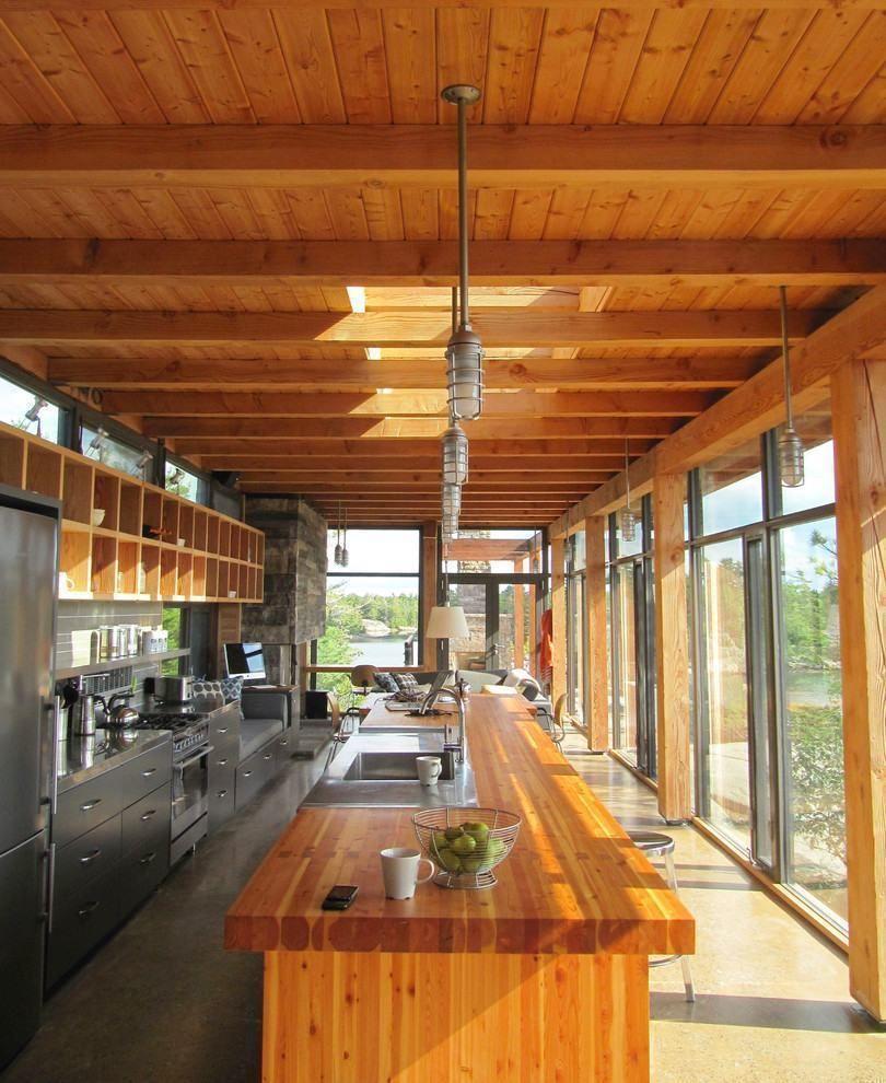 Cozinha americana rustica moderna