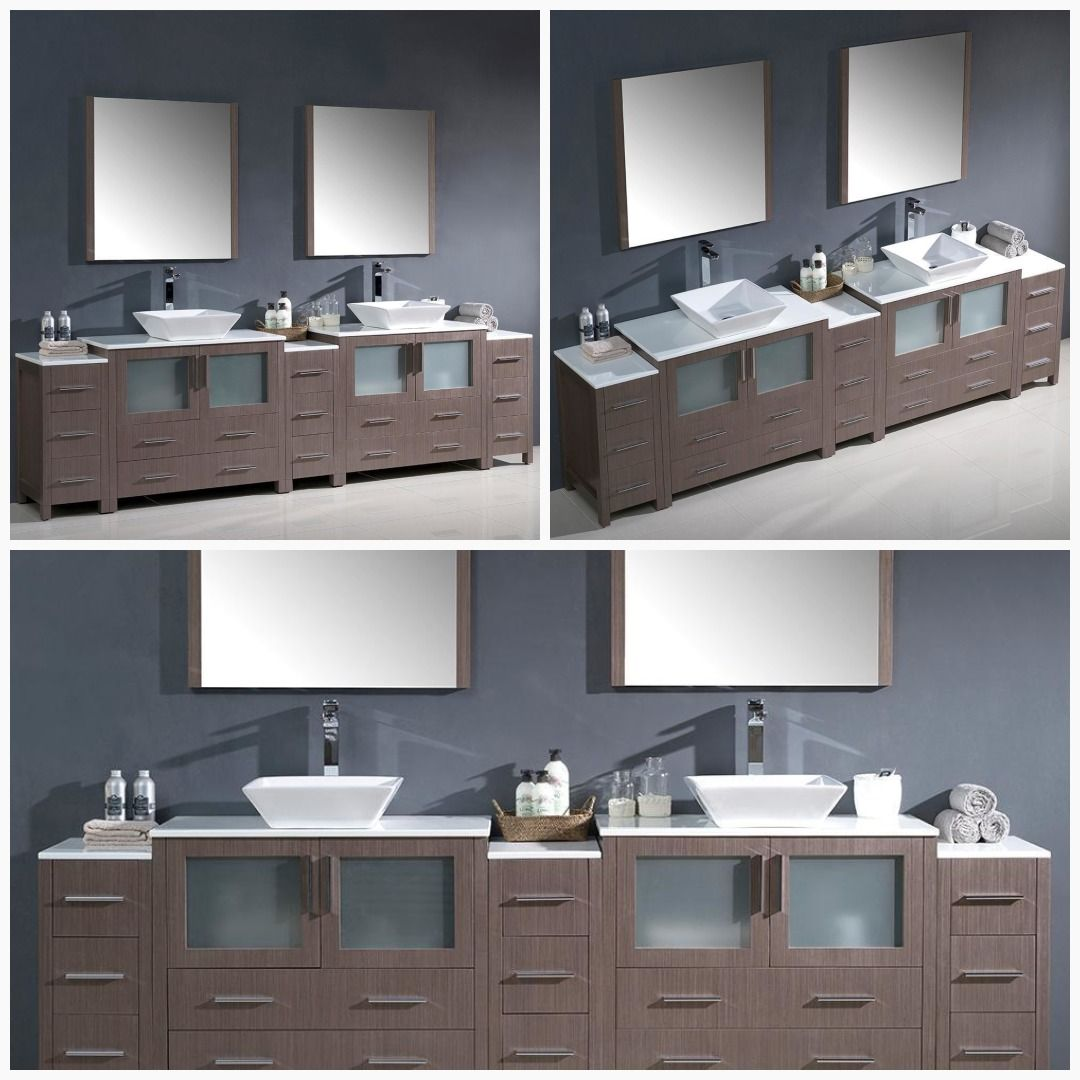 Fresca Torino 108 Gray Oak Double Sink Bathroom Vanity Cabinets Vessel Sinks Cabinets Bathroom Vanity Bathroom Furniture Design Bathroom Vanity Cabinets