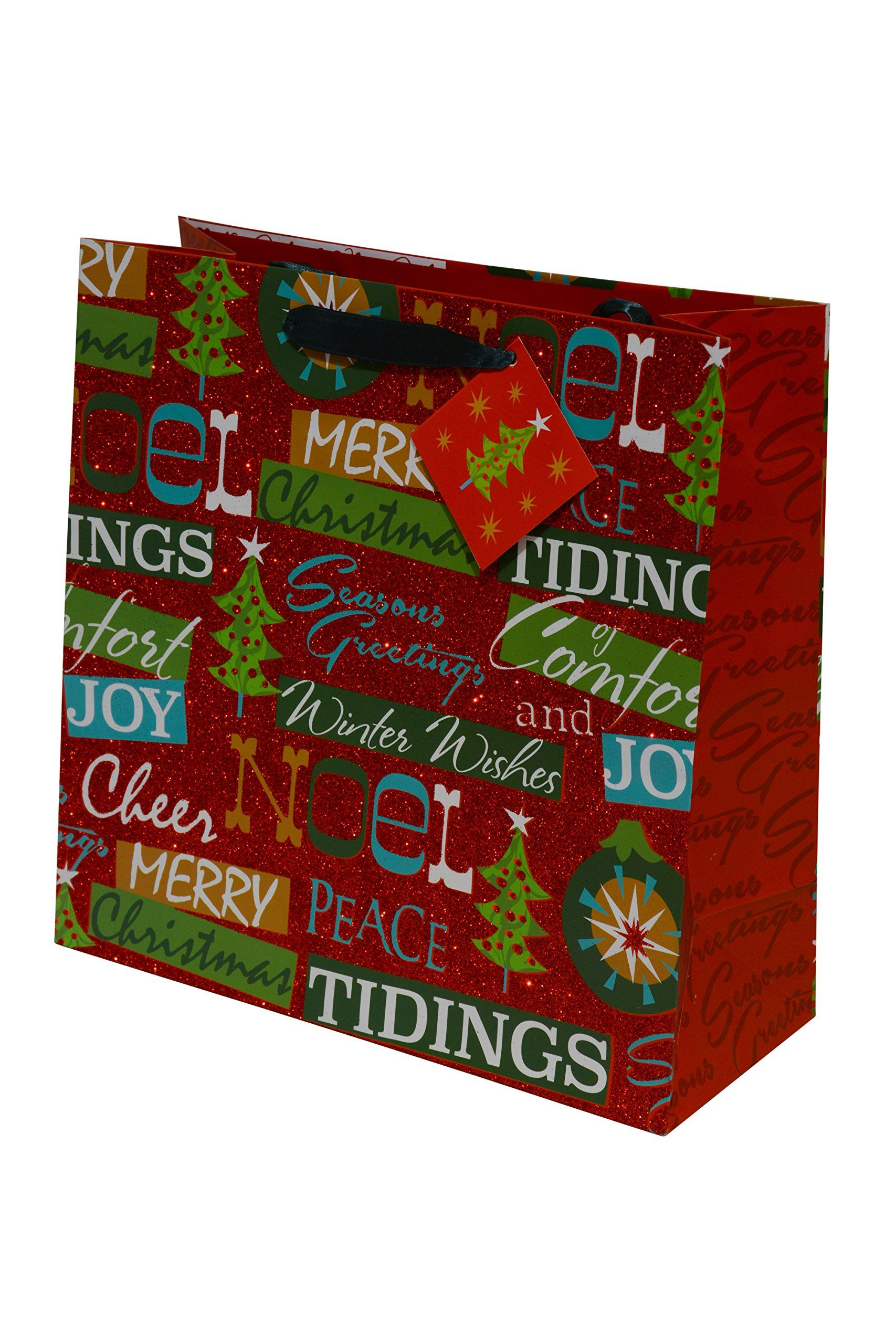 12 Christmas Gift Bags Bulk Large Square Glitter For Wring Holiday Gifts Assorted Prints 2