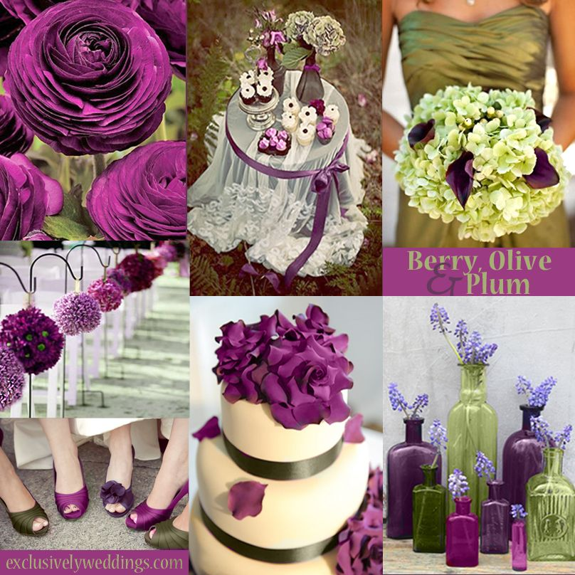 Berry, Olive and Plum Wedding Colors -  A lovely combination that we don't see too often. Perfect for spring and fall weddings.