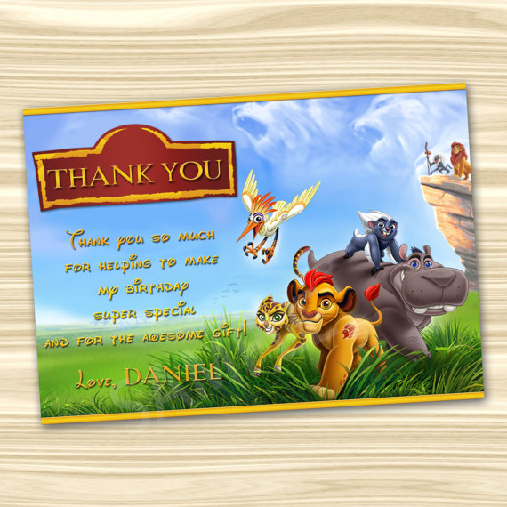 Lion Guard Thank You Card Lion Guard by KidsPartyBoutique on Etsy – Lion King Birthday Card