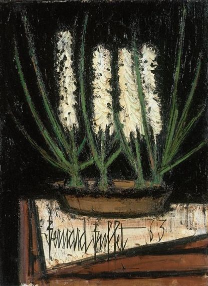 Bernard Buffet - JACINTHES BLANCHES DANS UN PLAT; Medium: oil on canvas