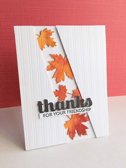 Handmade Falling Leaves Thank You Card Autumn Leaves Card Handstamped Thanksgiving Card Fall Leaves Greeting Card Folded Note Cards