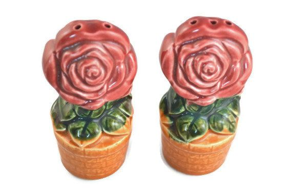 Vintage Ceramic Potted Rose Salt And Pepper Shaker by FarahsAttic, $6.50