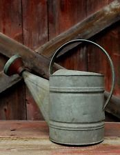 Vintage 10 Galvanized Metal Watering Can Painted Spout Gardening Flower Antique