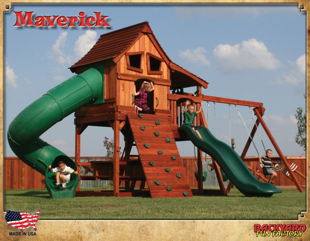 Swing sets wayfair metal amp wooden swingsets for kids - Maverick Swing Set I Love The Barn Style Doors On This Set Fun