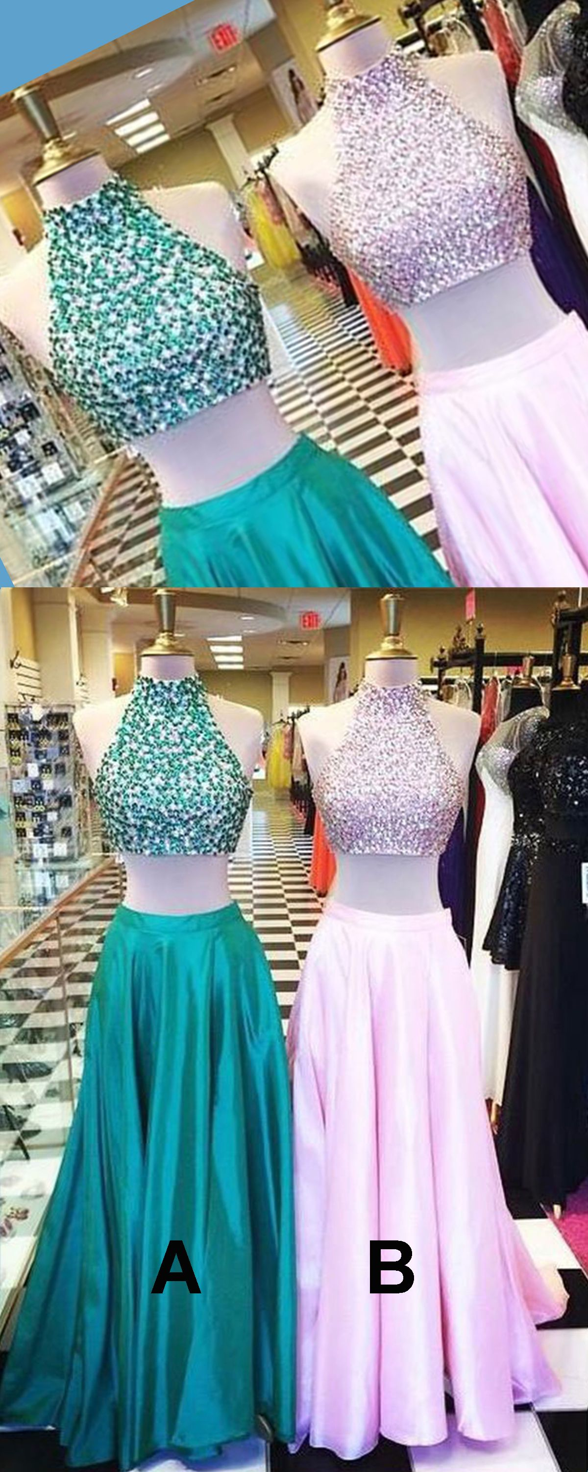 Cute green pink satin two pieces sequins high neck long prom dresses