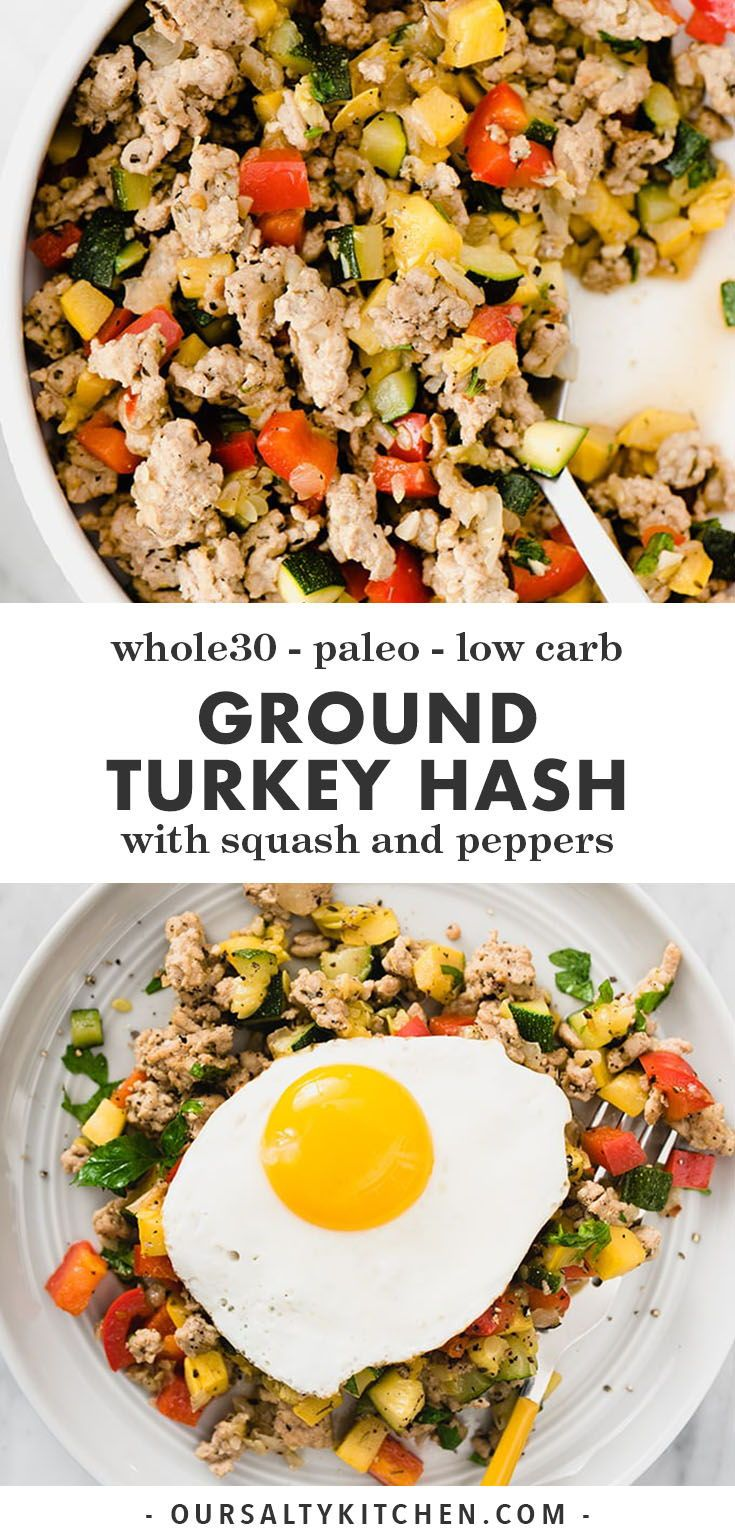 Paleo Ground Turkey Hash with Squash and Peppers | Our Salty Kitchen