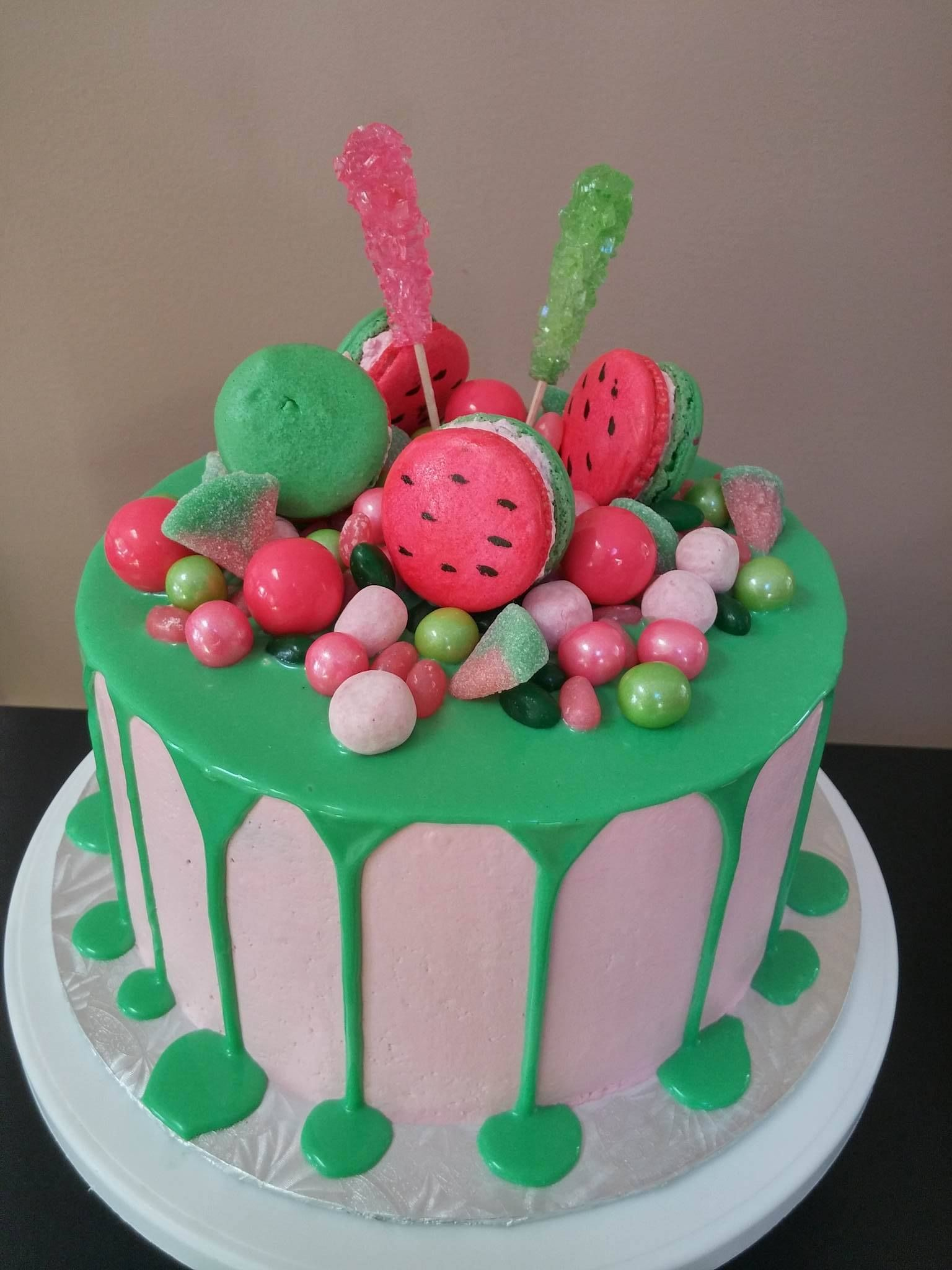 Watermelon Themed Drip Cake!