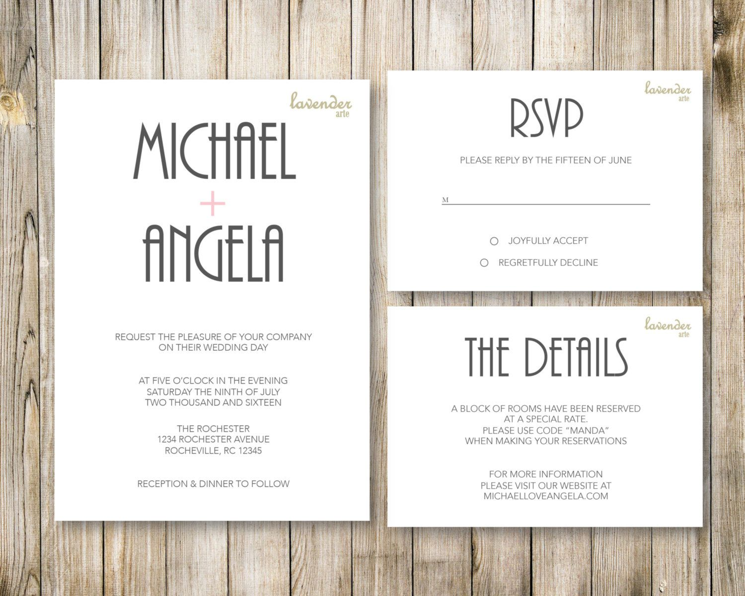 MINIMALISTIC WEDDING Invitation Set, Modern 3 Piece Pocket Suite ...