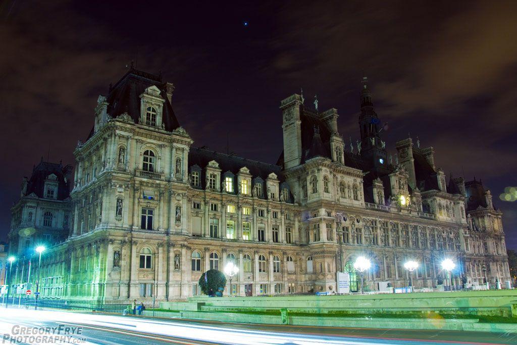 Hôtel de Ville de Paris at night in Paris, France.  My friend Gregory took this photo.