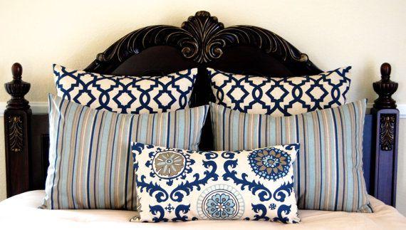 Shams Bedding Ensemble Full Queen Bedding Pillow Shams Navy Blue