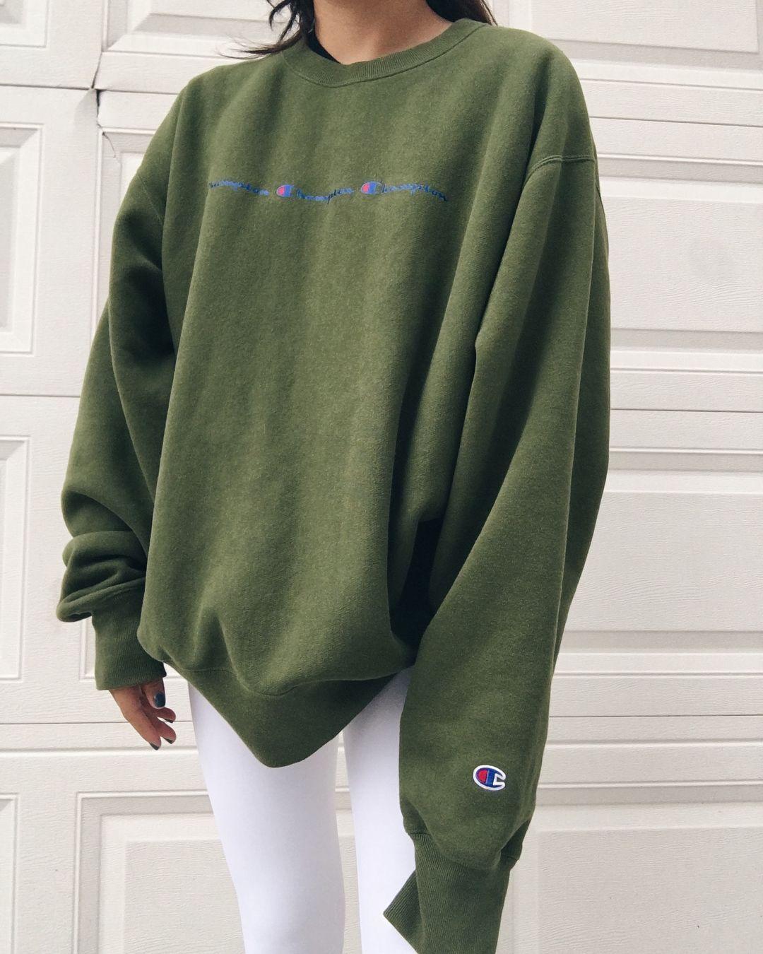 Johns Creek Ga On Instagram Sold Dark Green Oversized Champion Hoodie So Oversized Hoodie Outfit Oversized Sweatshirt Outfit Champion Hoodie [ 1350 x 1080 Pixel ]