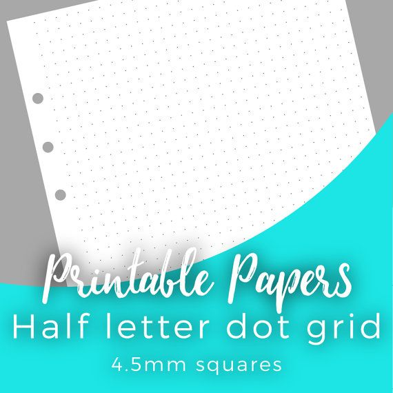 Printable Dot Grid Paper For A  Half Letter Planners Notebooks
