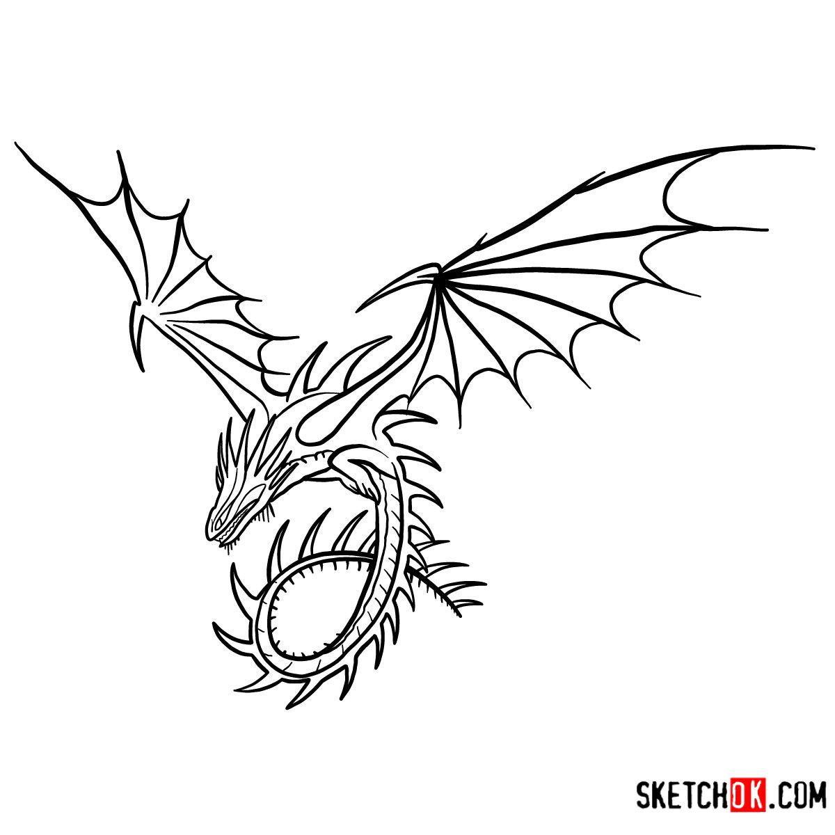 How To Draw The Skrill Dragon How Train Your Dragon How To