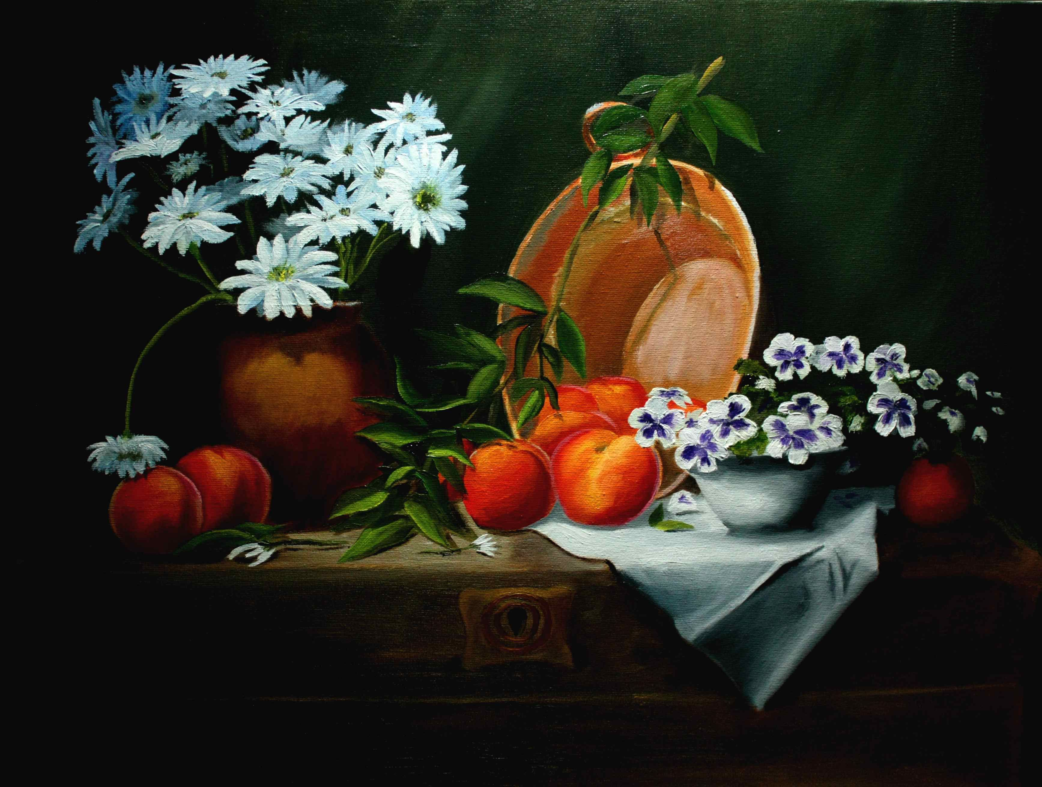 Copper Pail, Peaches and Flowers