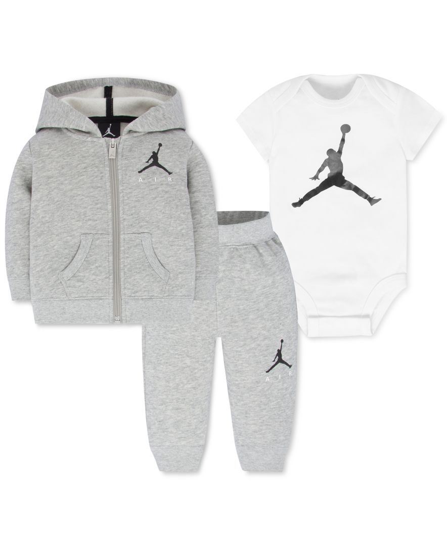 best website 2124f f0b5c Jordan Baby Boys  3-Pc. Air Fleece Hoodie, Bodysuit   Pants Set