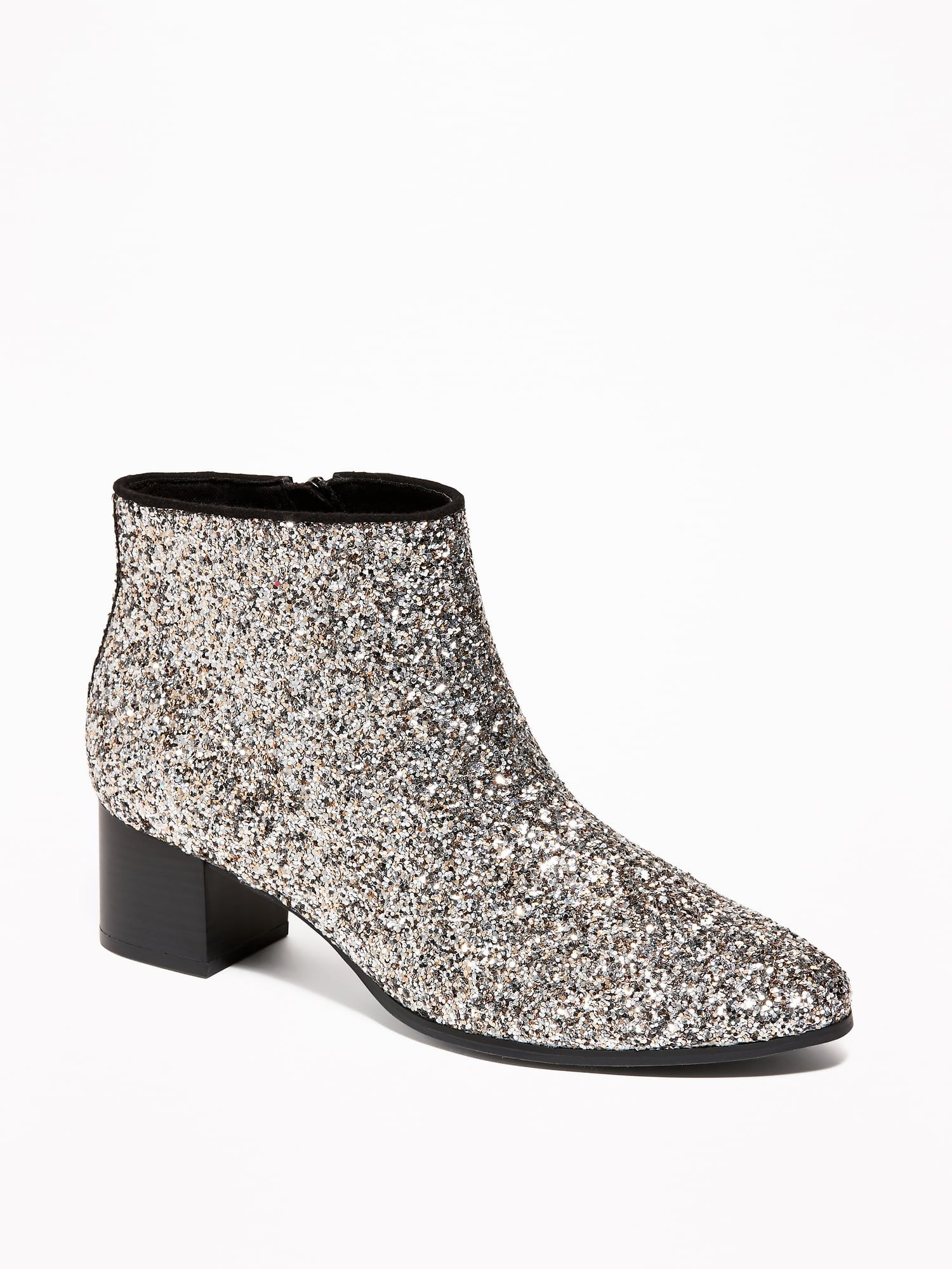 f59190dcd98b Glitter Block-Heel Booties for Women