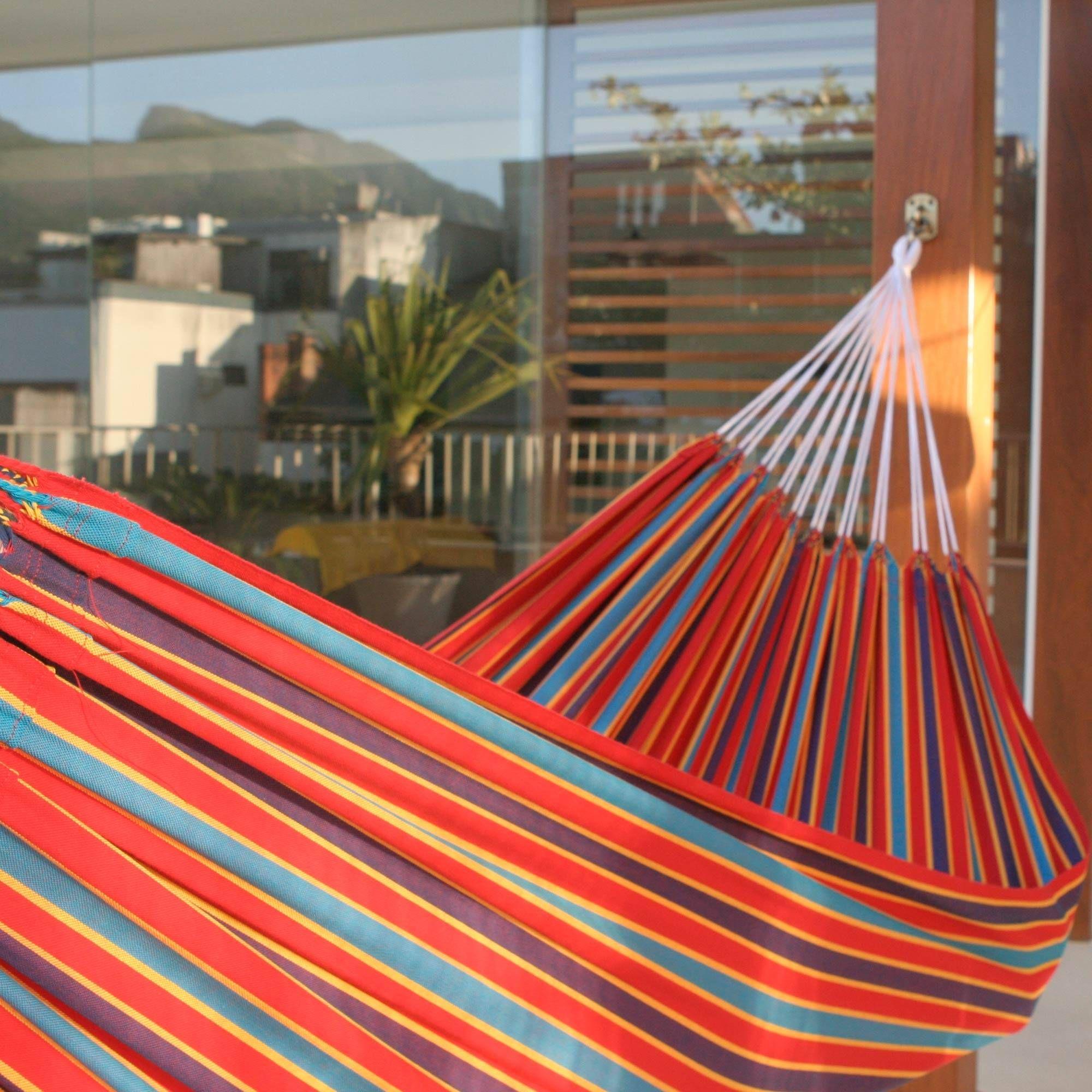 Cotton striped fabric hammock single carnival rainbow