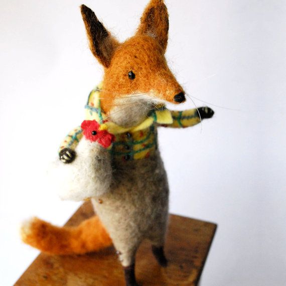 Original Handmade Needle felted Animal Fat Fox with by MissBumbles
