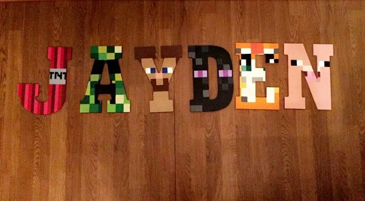 Minecraft Hand Painted Wooden Letters Wooden Letters Pinterest