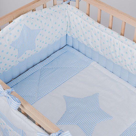 Crib Bedding Baby Bed Sets Boy Blue Stars Handmade Cotton
