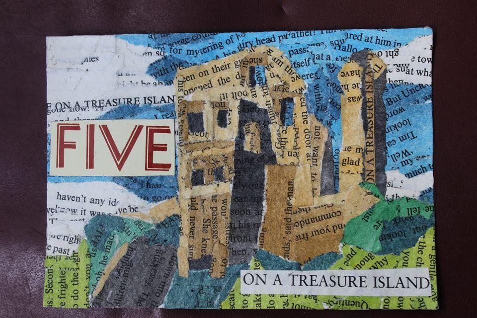 Corfe Castle, Dorset Book paper collage.