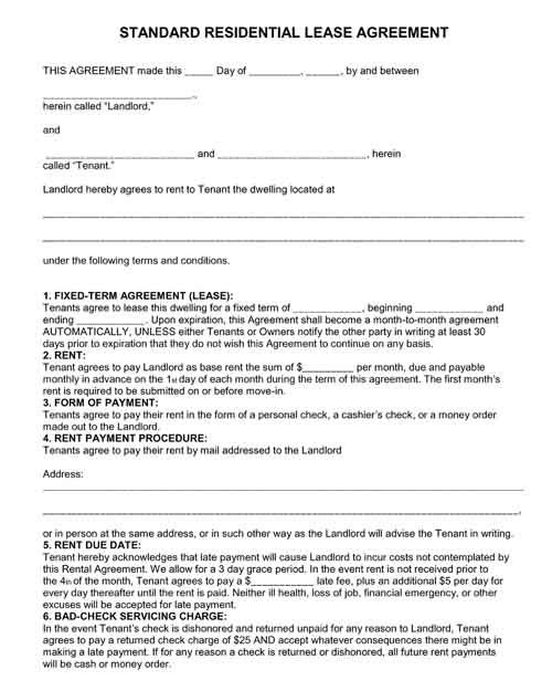 Residential Lease Agreement Fixed Term Lease Agreement Free Printable Rental Agreement Templates Lease Agreement