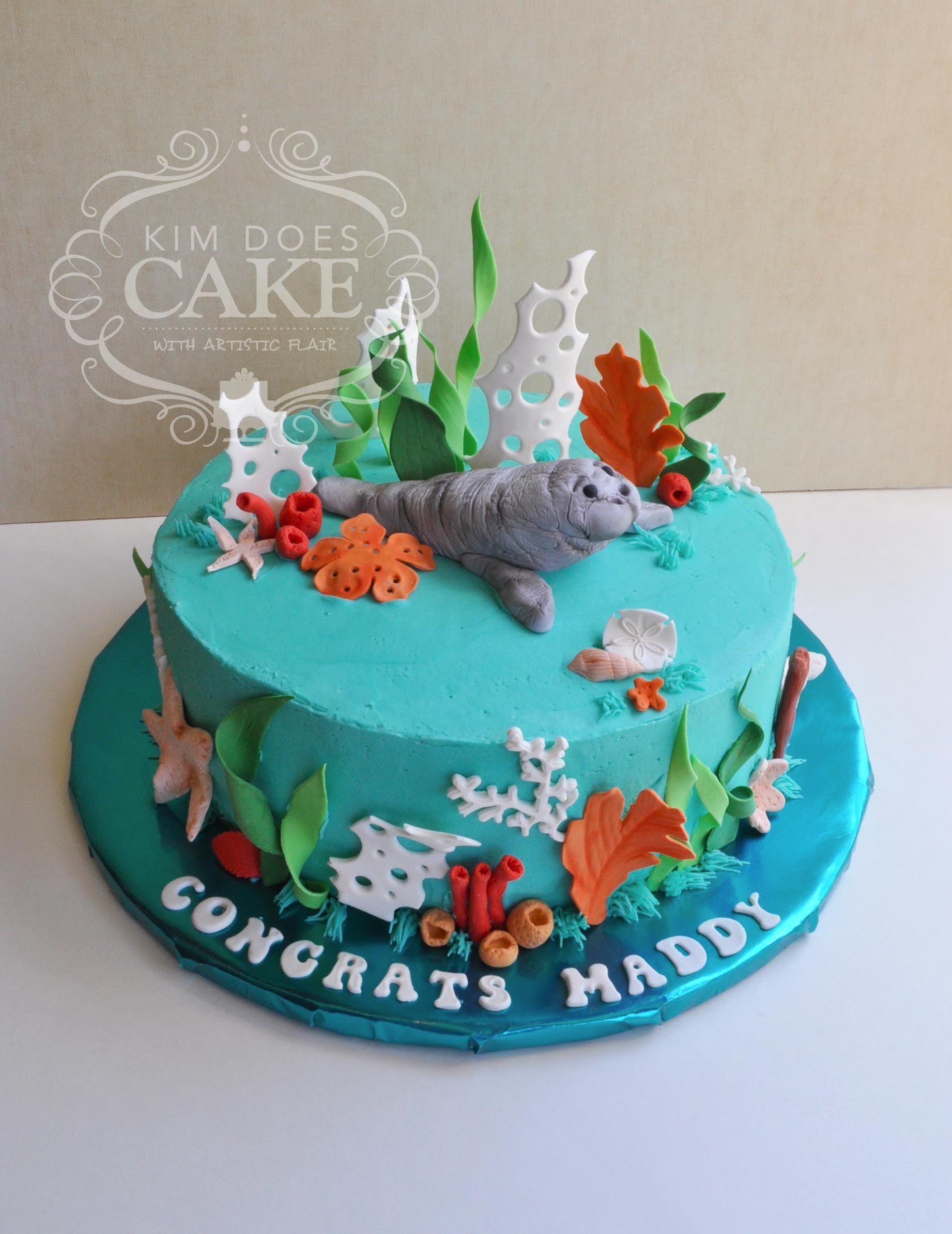 A Manatee Amp Sea Life Graduation Cake For A Future Marine