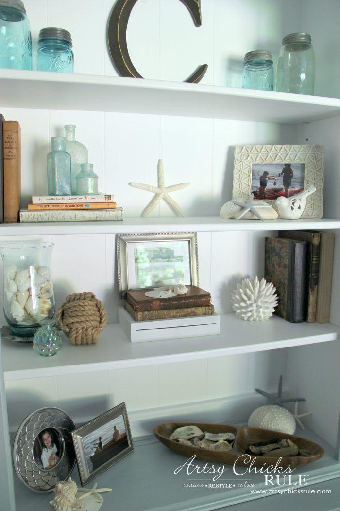 Photo of Coastal Styled Bookshelves (how to style shelves)