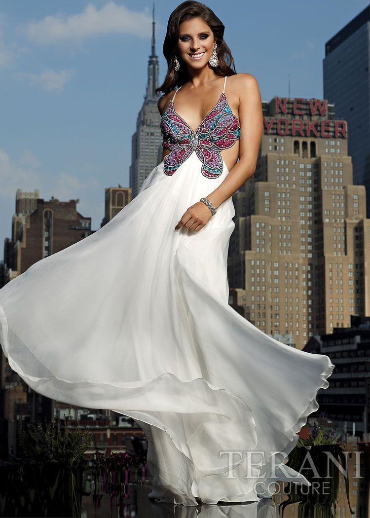 Butterfly Prom Dress White Prom Dress Terani Dresses [ 1050 x 750 Pixel ]