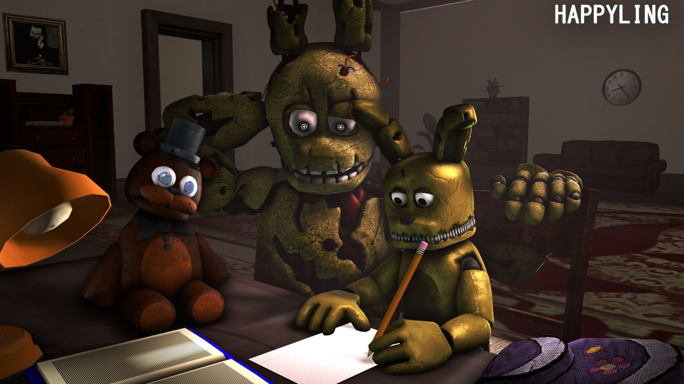 Fnaf spingtrap and plushtrap this is cute