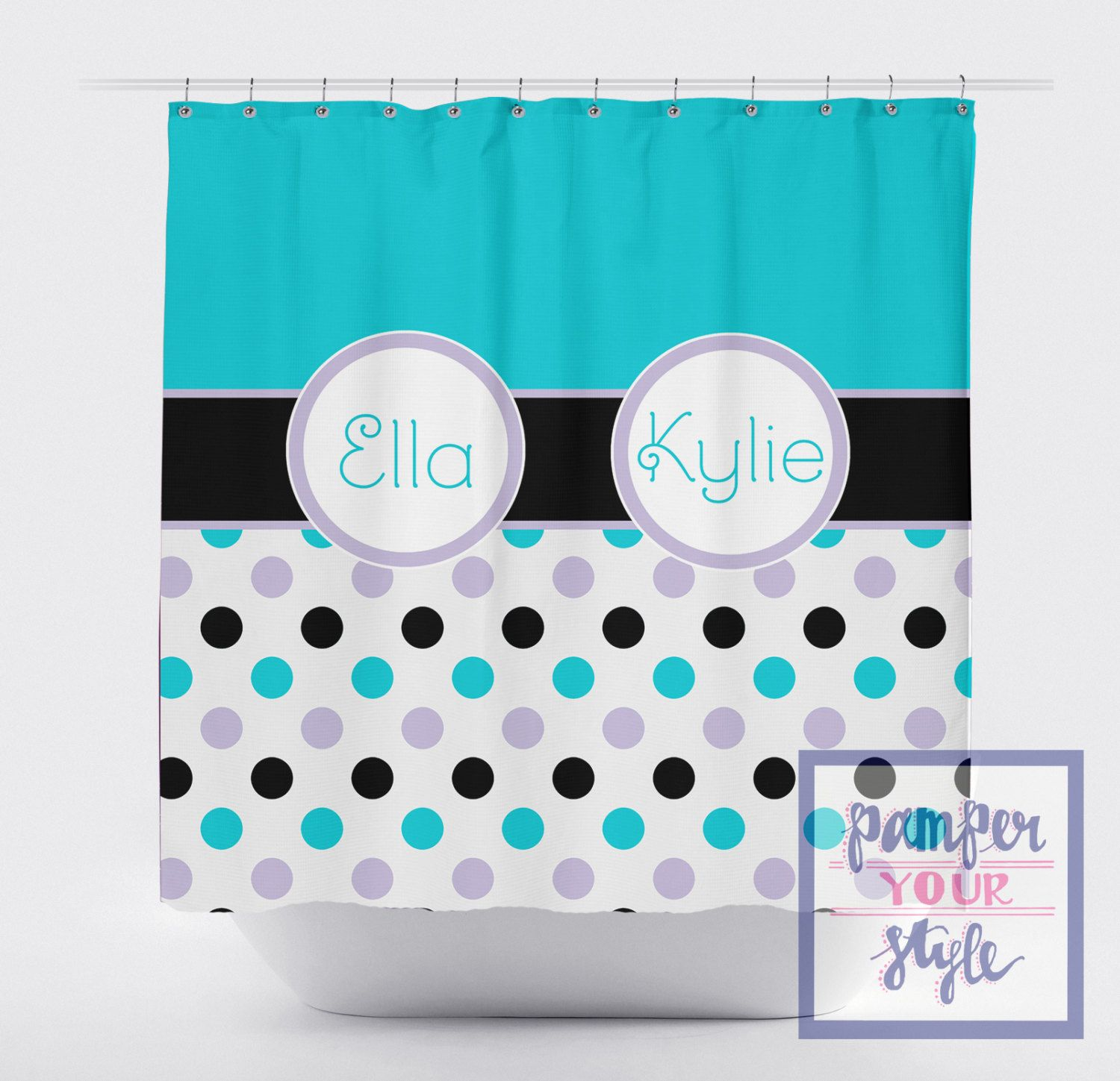 Black Aqua And Purple Custom Shower Curtain Kids Bathroom Decor By Pamperyourstyle On Etsy