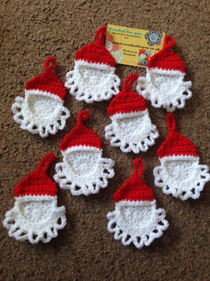 christmas crochet tree hanging personal photo hanging ornaments ...