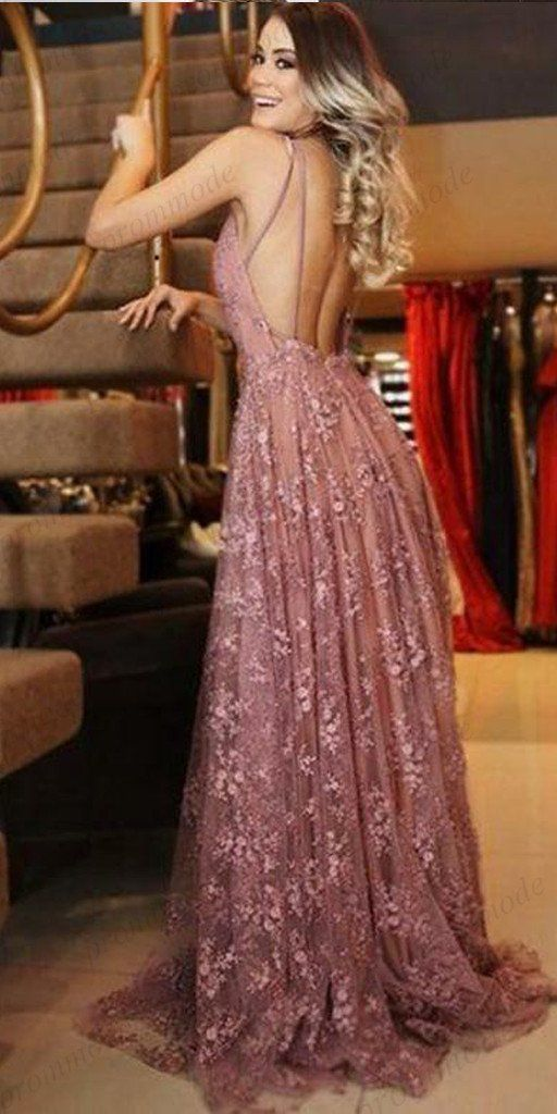 A-Linie V-Ausschnitt Rosa Spitze Abendkleider, Günstige Abendkleider, PDY0591 – prommode …   – Fashion dress