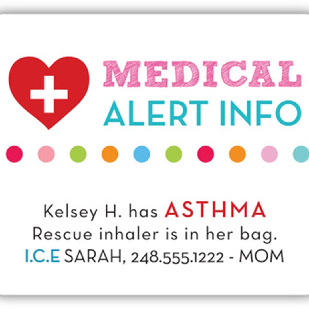 Emergency Contact Stickers for BacktoSchool Asthma