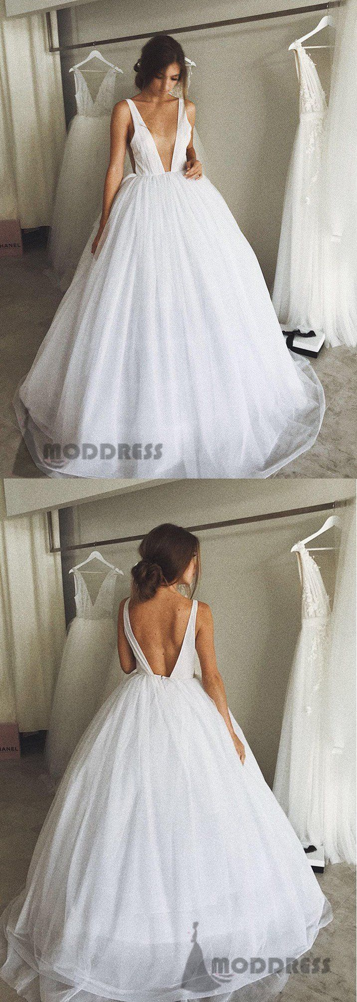 Deep vneck long prom dresses white evening ball gowns backless