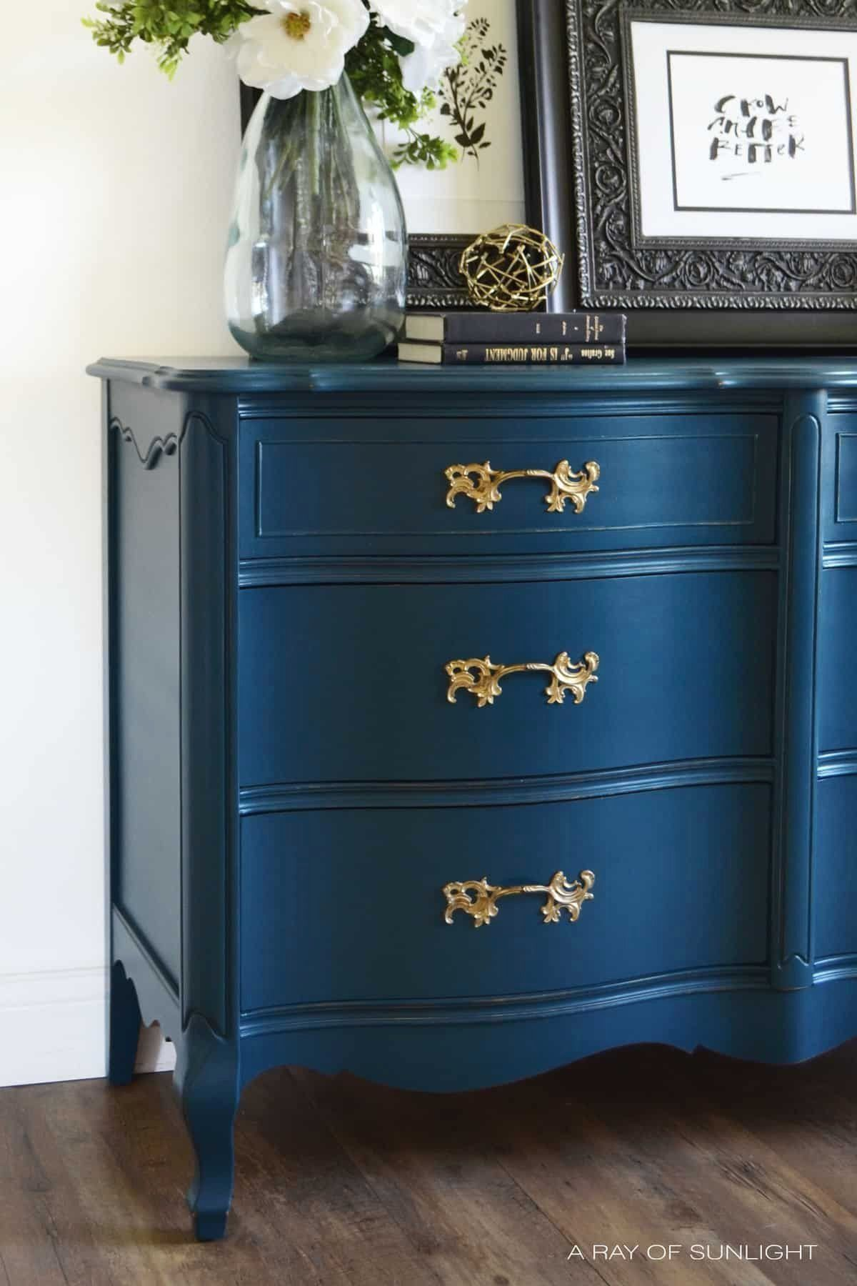 Navy Blue French Provincial Dresser Country Chic Paint