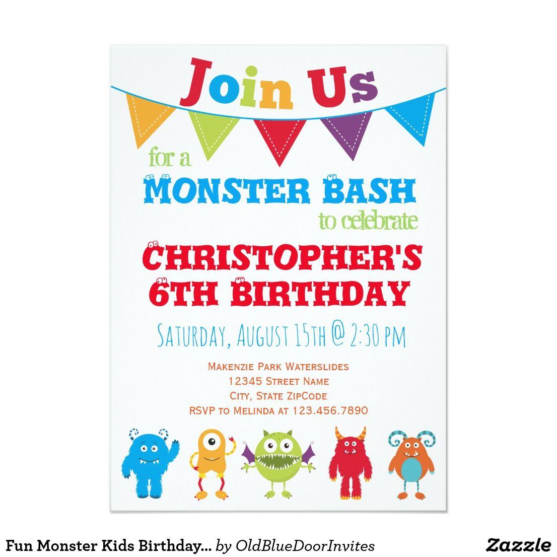 Fun Monster Kids Birthday Party Invitations   Pinterest   Kids ...