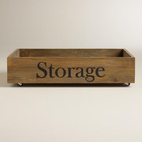 Wood Annie Rolling Storage Crate | World Market