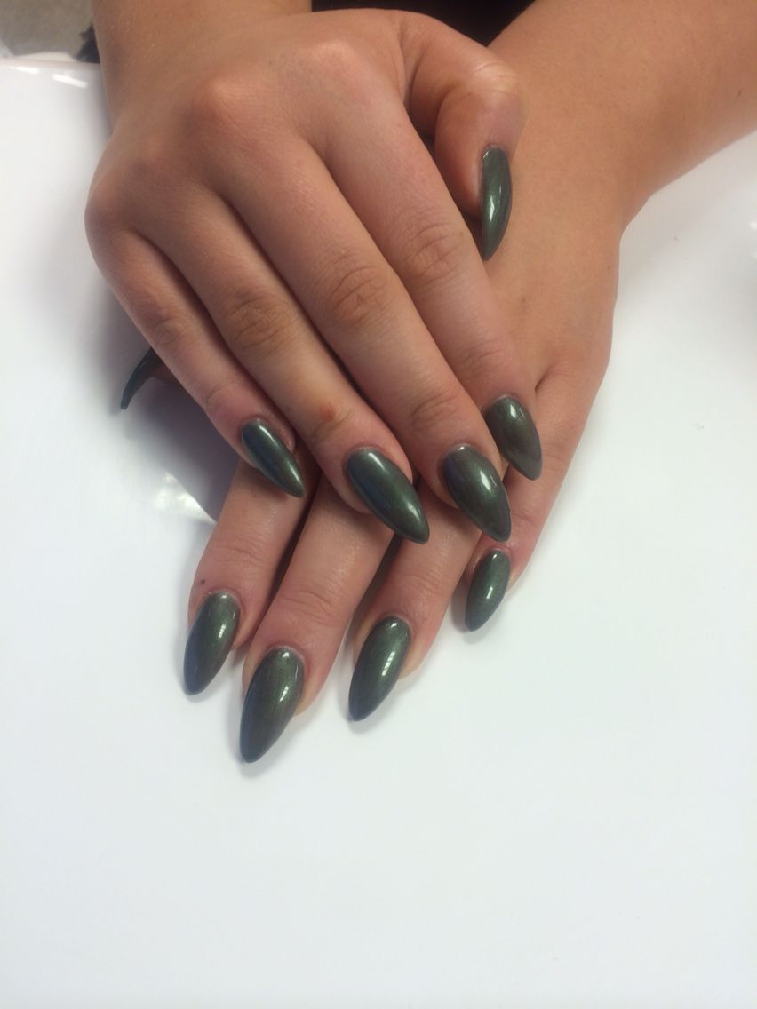 Olive green! Almond acrylic | Nails | Pinterest | Manicure, Hair ...