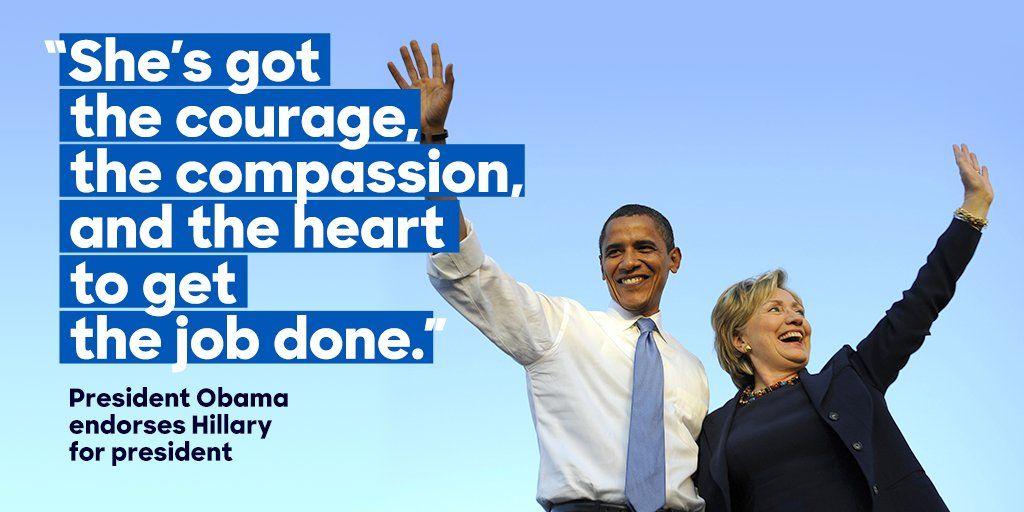 HillaryClinton: Thank you POTUS. https://t.co/XXlcefUn4t #imwithher